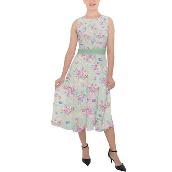 Belted Chiffon Midi Dress - Mouse Ears Easter Bunny