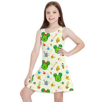 Girls Sleeveless Dress - Flower & Garden Festival