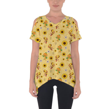 Cold Shoulder Tunic Top - Spike The Bee and Orange Bird