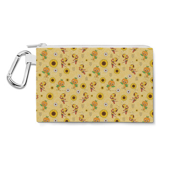 Canvas Zip Pouch - Spike The Bee and Orange Bird