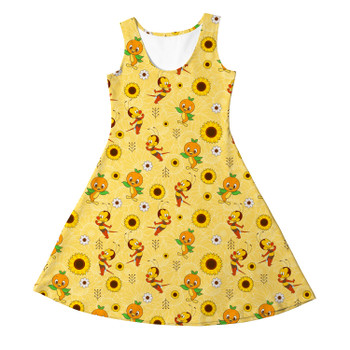 Girls Sleeveless Dress - Spike The Bee and Orange Bird