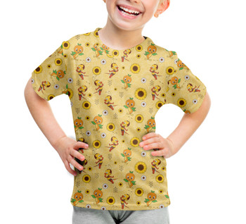 Youth Cotton Blend T-Shirt - Spike The Bee and Orange Bird