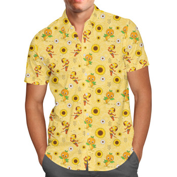 Men's Button Down Short Sleeve Shirt - Spike The Bee and Orange Bird