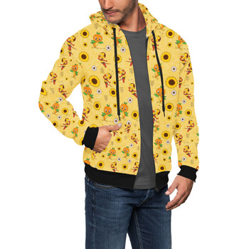 Men's Zip Up Hoodie - Spike The Bee and Orange Bird