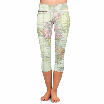 Yoga Capri Leggings - XS - Antique World Map 1913 - READY TO SHIP