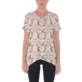 Cold Shoulder Tunic Top - Floral Minnie Wreaths