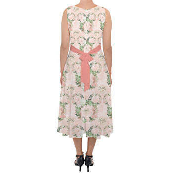 Belted Chiffon Midi Dress - Floral Minnie Wreaths