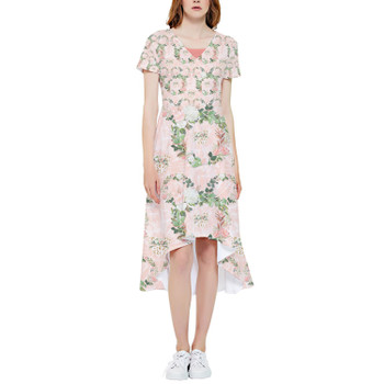 High Low Midi Dress - Floral Minnie Wreaths