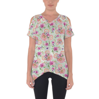 Cold Shoulder Tunic Top - Peachy Floral Minnie Ears