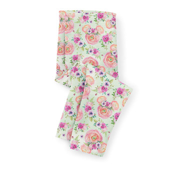 Girls' Capri Leggings - Peachy Floral Minnie Ears