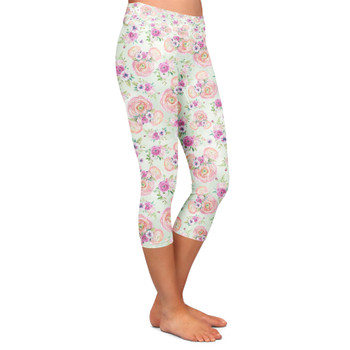 Yoga Capri Leggings - Peachy Floral Minnie Ears