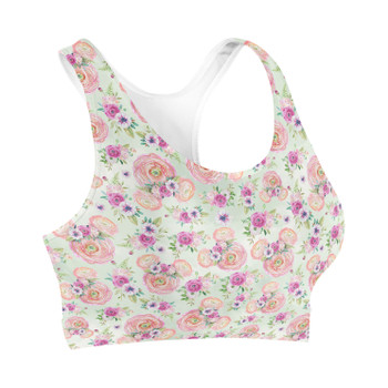Sports Bra - Peachy Floral Minnie Ears