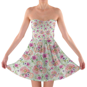 Sweetheart Strapless Skater Dress - Peachy Floral Minnie Ears
