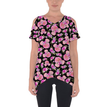 Cold Shoulder Tunic Top - Fuchsia Pink Floral Minnie Ears
