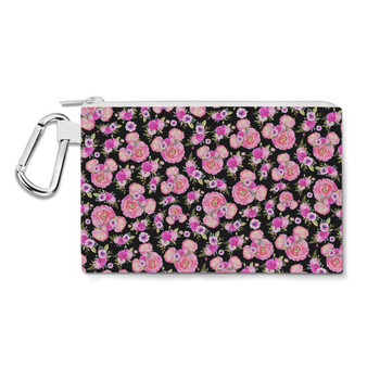 Canvas Zip Pouch - Fuchsia Pink Floral Minnie Ears