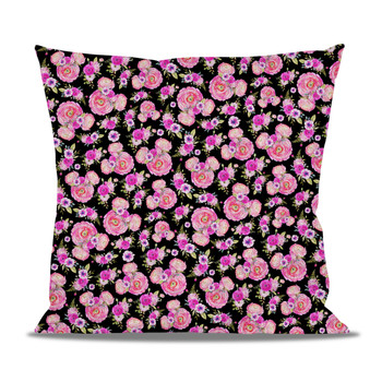 Fleece Cushion - Fuchsia Pink Floral Minnie Ears