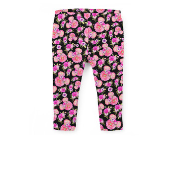 Girls' Capri Leggings - Fuchsia Pink Floral Minnie Ears