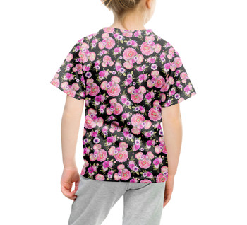 Youth Cotton Blend T-Shirt - Fuchsia Pink Floral Minnie Ears