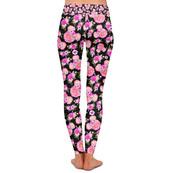 Yoga Leggings - Fuchsia Pink Floral Minnie Ears