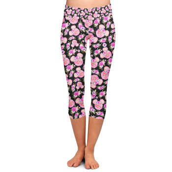 Yoga Capri Leggings - Fuchsia Pink Floral Minnie Ears