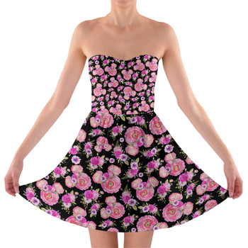Sweetheart Strapless Skater Dress - Fuchsia Pink Floral Minnie Ears