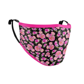 Fitted Face Mask with 50 filters - Fuchsia Pink Floral Minnie Ears