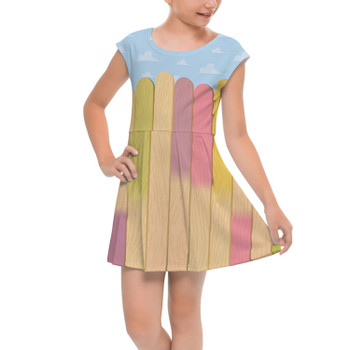 Girls Cap Sleeve Pleated Dress - The Popsicle Stick Wall