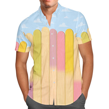 Men's Button Down Short Sleeve Shirt - The Popsicle Stick Wall