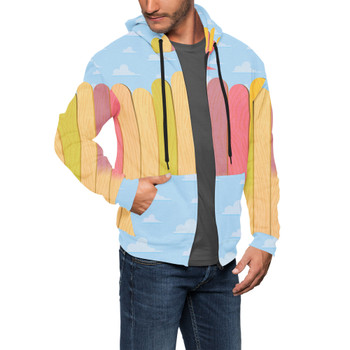Men's Zip Up Hoodie - The Popsicle Stick Wall