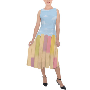 Belted Chiffon Midi Dress - The Popsicle Stick Wall