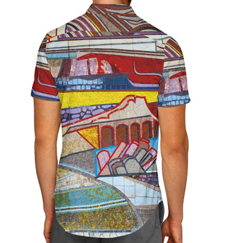 Men's Button Down Short Sleeve Shirt - The Mosaic Wall