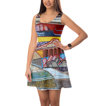 Sleeveless Flared Dress - The Mosaic Wall