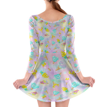 Longsleeve Skater Dress - Pastel Ice Cream Dreams