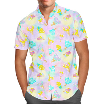 Men's Button Down Short Sleeve Shirt - Pastel Ice Cream Dreams