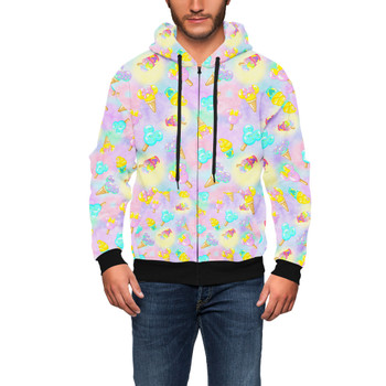 Men's Zip Up Hoodie - Pastel Ice Cream Dreams