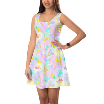 Sleeveless Flared Dress - Pastel Ice Cream Dreams