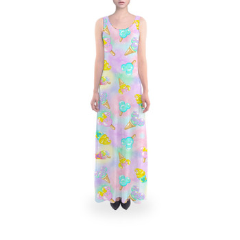 Flared Maxi Dress - Pastel Ice Cream Dreams