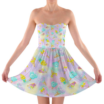Sweetheart Strapless Skater Dress - Pastel Ice Cream Dreams