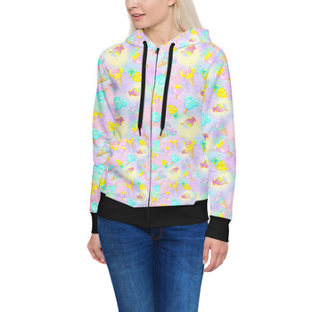 Women's Zip Up Hoodie - Pastel Ice Cream Dreams