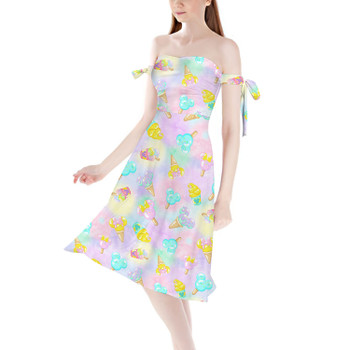 Strapless Bardot Midi Dress - Pastel Ice Cream Dreams