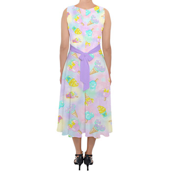 Belted Chiffon Midi Dress - Pastel Ice Cream Dreams