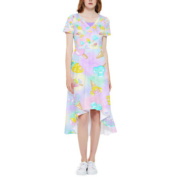 High Low Midi Dress - Pastel Ice Cream Dreams