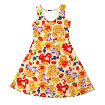 Girls Sleeveless Dress - Magical Breakfast Waffles