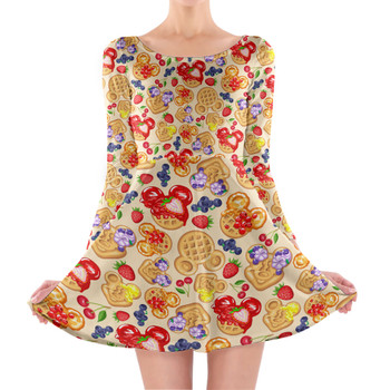 Longsleeve Skater Dress - Magical Breakfast Waffles