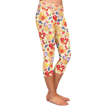 Yoga Capri Leggings - Magical Breakfast Waffles