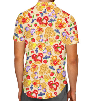 Men's Button Down Short Sleeve Shirt - Magical Breakfast Waffles