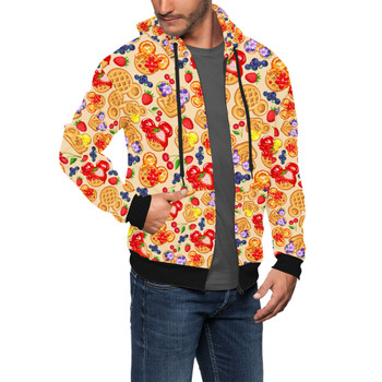 Men's Zip Up Hoodie - Magical Breakfast Waffles