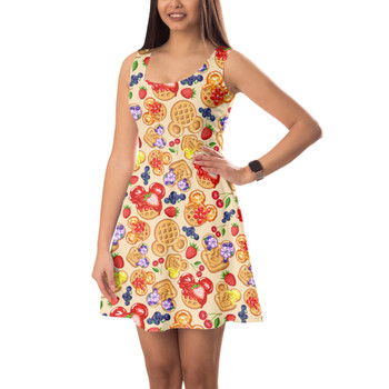 Sleeveless Flared Dress - Magical Breakfast Waffles