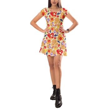 Short Sleeve Dress - Magical Breakfast Waffles