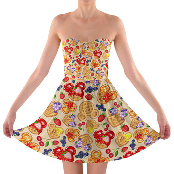 Sweetheart Strapless Skater Dress - Magical Breakfast Waffles